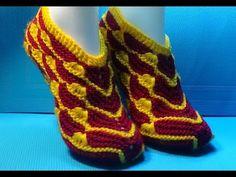 Вязание спицами домашние тапочки | вязаная обувь | Постила