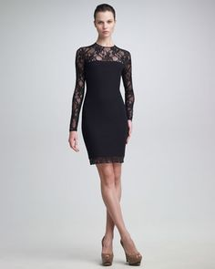 Versace Long-Sleeve Lace Dress - Neiman Marcus
