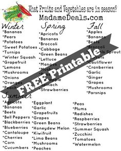 Save Money on fruits and veggies by knowing when they are in season with this FREE printable!
