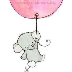 baby elephant hanging from balloon