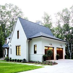 Considering the overall style of your home is a very important part of picking out your garage door or doors. For example, our new house has a modern cottage vibe. Best White Paint, White Paint Colors, Modern Cottage, Modern Farmhouse, Farmhouse Ideas, Farmhouse Style, Built In Bunks, Black Interior Doors, Wood Garage Doors