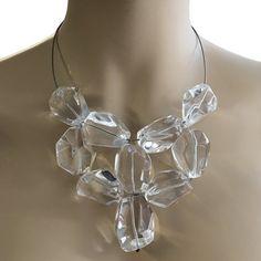 """Halskette """"runway"""" Halsreifen Damen Schmuck Bergkristallen transparent Rauchquarz braun groß: Amazon.de: Bekleidung"""