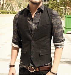 Casual Sleeveless Jacket Coat Mens Formal Waistcoats Best Casual Outfits Ideas For Women's or Mens - Teesfly Casual Outfits Shop In USA Outfits Casual, Stylish Mens Outfits, Vest Outfits, Dress Casual, Chaleco Casual, Tweed Men, Herren Outfit, Sleeveless Jacket, Men's Coats And Jackets
