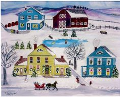 Christmas folk art is the best! Also check out artist: Regie Klein for more Christmas Folkart --- lovely.