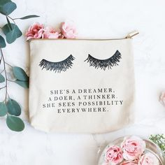 Makeup bag cosmetic travel canvas bag gift for mom her inspirational quote eyelashes brush holder organizer storage make-up make up lashes cosmetic pouch