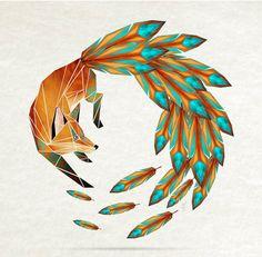 Fox Art with Geometric Tail Illustration Circle Canvas, Circle Art, Pfau Tattoo, Art Fox, Fuchs Illustration, Fuchs Tattoo, Geometric Fox, Geometric Tattoos, Geometric Shapes