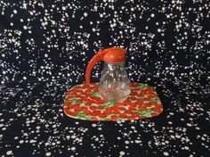Pour it On~Red Metal Top~Glass Bottle~Syrup Dispenser~MCM Kitchen~Spring Latch Top by RubyJeanRummage on Etsy