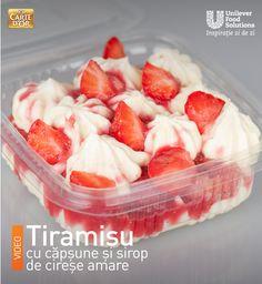 TIRAMISU CU CAPSUNI SI SIROP DE CIRESE AMARE Fruit Salad, Tiramisu, Strawberry, Food, Fruit Salads, Eten, Strawberry Fruit, Tiramisu Cake, Strawberries