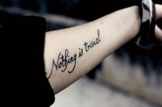 """""""Little things used to mean so much to Shelly. I used to think they were kind of trivial. Believe me, nothing is trivial."""" — Eric Draven, The Crow Trendy Tattoos, Sexy Tattoos, Body Art Tattoos, I Tattoo, Cool Tattoos, Tatoos, Forearm Tattoos, Arm Quote Tattoos, Tattoo Quotes"""