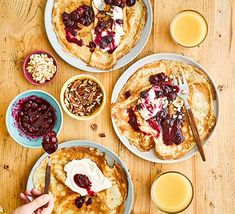 Try these moreish blueberry cheesecake pancakes on Shrove Tuesday, they'll go down a storm with the family. They also make a lovely dessert all year round Cheesecake Pancakes, Lime Cheesecake, Blueberry Cheesecake, Cinnamon Roll Pancakes, Baked Pancakes, Waffles, Pancake Recipe Bbc, Bbc Good Food Recipes, Cooking Recipes