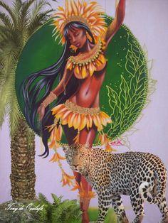 cabocla Black Girl Art, Black Women Art, Art Girl, Fantasy Kunst, Fantasy Art, Black Artwork, Afro Art, People Art, Native American Art
