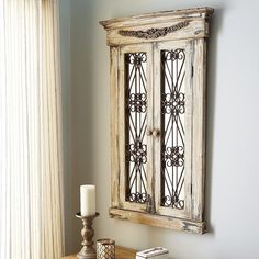 Pier 1 Imports Merville Antiqued White Window Mirror ($259) ❤ liked on Polyvore featuring home, home decor, mirrors, ivory mirror, window mirror, scroll mirror, cream mirror and handmade home decor