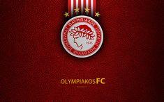 Download wallpapers Olympiakos FC, 4k, logo, Greek Super League, leather texture, emblem, Piraeus, Greece, football, Greek football club, Olympiacos Piraeus