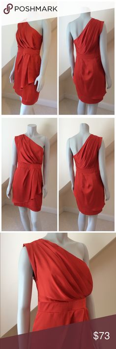 BCBGmaxazria Party Dress Greek goes modern with this updated one-shoulder dress, designed with cascading ruffles for a feminine effect. Featuring a one-shoulder silhouette with an asymmetrical neckline, a slim banded waist and a slim straight skirt with pleated ruffle overlay...side zipper...worn once!!!...excellent condition...poly...machine washable. Retail $298 BCBGMaxAzria Dresses One Shoulder