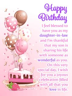 Send Free Joyous Celebration - Happy Birthday Card for Daughter-in-Law to Loved Ones on Birthday & Greeting Cards by Davia. It's free, and you also can use your own customized birthday calendar and birthday reminders. Cool Birthday Cards, Birthday Card Sayings, Happy Birthday Quotes, Birthday Messages, Birthday Images, Birthday Greeting Cards, Happy Birthday Me, Special Birthday, Birthday Sentiments