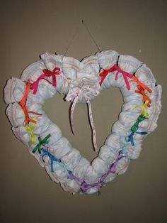 Diaper Wreaths   Heart Shaped Diaper Wreath by LoLDiaperCakes on Etsy