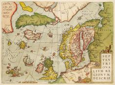 Antique map of North Atlantic by Ortelius. First edition 1570. This edition 1595.
