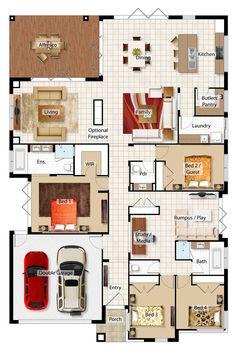 Avanti - Barrington Homes Model House Plan, New House Plans, Dream House Plans, Small House Plans, House Floor Plans, Home Design Floor Plans, Plan Design, Barrington Homes, House Blueprints