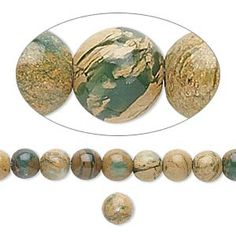 Bead, verdite (natural), 6mm round, B grade, Mohs hardness 3-1/2 to 4. Sold per 16-inch strand. ((Rings/necklaces.))