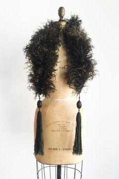 RARE 1920s Chocolate Tassel Ostrich Stole/Boa - One Size