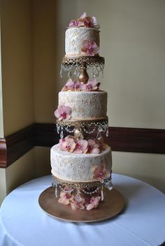 Lace & orchids- Cristals&Gold- Wedding Cake- The cake Zone-Florida