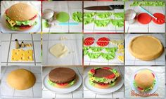 Hamburger Cake Tutorial von Evelindecora - Tips, Tutorials, and Techniques - Fondant Cake Tutorial, Fondant Cakes, Cupcake Cakes, Car Cakes, Cake Fondant, Fondant Figures, Food Cakes, Cheeseburger Cake, Bolo Diy