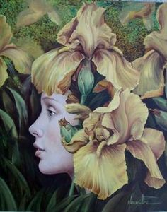 green - woman withh flowers - Catherine Alexandre  figurative painting