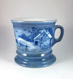 """Vintage 1960s Currier & Ives """"Homestead In Winter"""" Shaving Mug See Photos #CurrieandIves"""