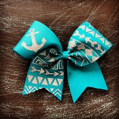 teal tribal print cheer bow by BragAboutItCheerBows on Etsy, $15.00