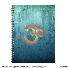 OM blue brass gold damask Asia Yoga Spiritualität Notebook
