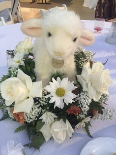 Baby shower centerpiece. Sheep and all white shower. Loved it!