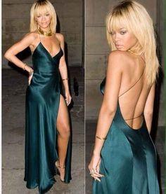 Ria ~ Dark Green Deep Plunge Wrap Maxi Dress