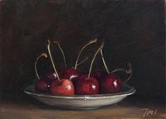 Julian Merrow-Smith ~ painting of Cherries on a saucer