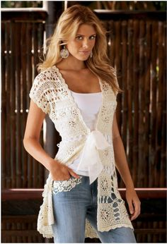 artimanhas: Toque de classe crochet vest women fashion clothing outfit apparel summer style