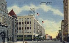 Hohman Avenue in Hammond, Indiana vintage postcard from our collection of over 2 Million old antique post cards of US States, Cities and Town Views. Hammond High School, Hammond Indiana, American Legions, Christian Church, U.s. States, Old Antiques, Vintage Postcards, History, Architecture