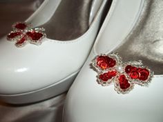 Bridal Shoe Clips  set of 2  Red Butterfly Shoe by ShoeClipsOnly, $16.00