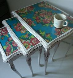 SOLD! #upcycled #floral nest of 3 glass Coffee Tables www.facebook.com/maisieshousevintage