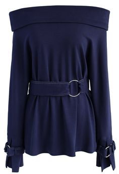 Sassy Mission Off-shoulder Top in Navy - New Arrivals - Retro, Indie and Unique Fashion