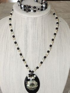 Handmade Black Gray and silver Necklace with  by GabiLuBoutique