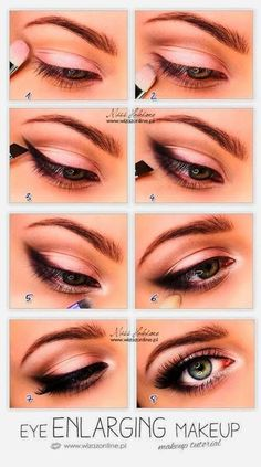 Make-up - Braut Mit Sass Wedding Day Makeup Eye enlarging makeup tutorial. Also, I read somewhere that priming with a white (thick) liner can make that metallic color stay longer without fading. Romantic Eye Makeup, Simple Eye Makeup, Natural Makeup, Natural Beauty, Small Eyes Makeup, Pretty Makeup, Quick Makeup, Bigger Eyes Makeup, Eyeliner For Small Eyes
