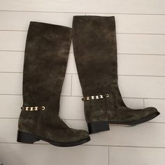 Salvatore Ferragamo Nando chain boots size 8 New New without box Salvatore Ferragamo boots. I'd say color is olive green. Size 8 and seem to fit true to size. Retail for 1290$ plus tax! Salvatore Ferragamo Shoes