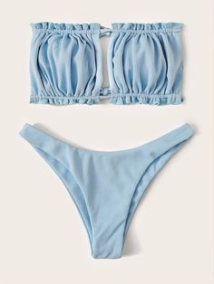 To find out about the Rib Ruched Bandeau High Cut Bikini Swimsuit at SHEIN, part of our latest Bikini Sets ready to shop online today! Cut Out Bikini, High Cut Bikini, Bikini Set, Bandeau Bikini, Bikini Swimwear, Swimsuits, Bikinis For Teens, Bikini Pattern, Bra Types