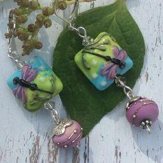 Fireflies and Swirls Lampwork Earrings by WithTheseHandsCreate
