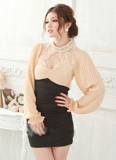 Pearl collar lace Patchwork halter dress