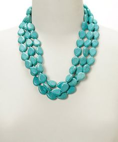 Look what I found on #zulily! Turquoise Magnesite Three-Strand Necklace #zulilyfinds