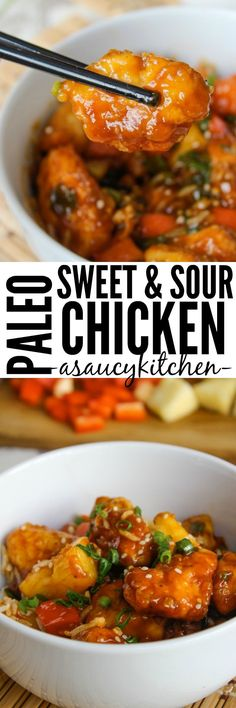 and Sour Chicken made healthy with low fodmap, paleo ingredients!Sweet and Sour Chicken made healthy with low fodmap, paleo ingredients! Fodmap Recipes, Paleo Recipes, Whole Food Recipes, Cooking Recipes, Paleo Food, Paleo Meals, Paleo Cookbook, Paleo Chicken Recipes, Paleo Sweets
