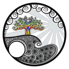 """Chakra Tree"" by Beth Snow. If you click through, you can buy a print, or even greeting cards!"