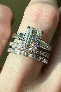 diamond engagement rings emerald cut wedding set solitaire #DazzlingDiamondEngagementRings