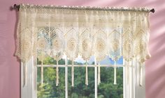 -White Crochet Tassel Fringe Lace Design Scallop Window Valance Curtain ...