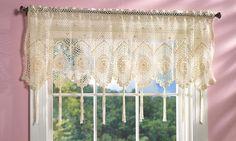 -White Crochet Tassel Fringe Lace Design Scallop Window Valance Curtain ...